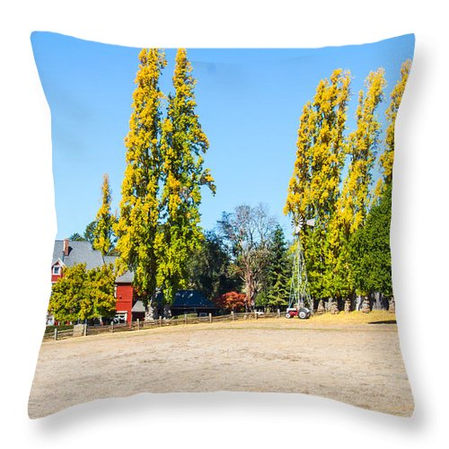 Hills Wine Grapes Throw Pillow featuring the photograph Napa Working Farm by Brian Williamson