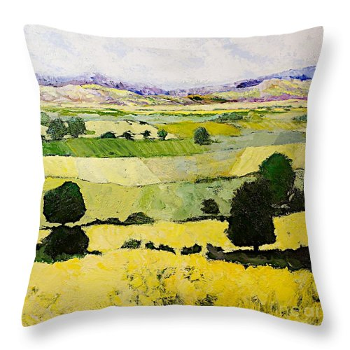 Landscape Throw Pillow featuring the painting Napa Yellow2 by Allan P Friedlander