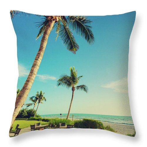 Vacations Throw Pillow featuring the photograph Naple Beach Palms by Thepalmer