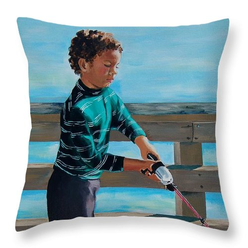 Fishing Throw Pillow featuring the painting Naples Boy Fishing by Judy Swerlick