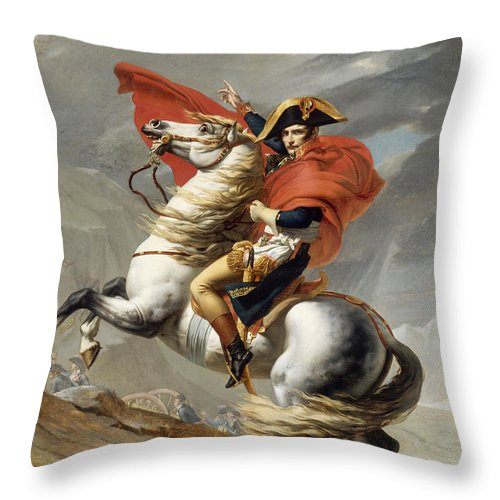 Napoleon Throw Pillow featuring the painting Napoleon Bonaparte on Horseback by War Is Hell Store