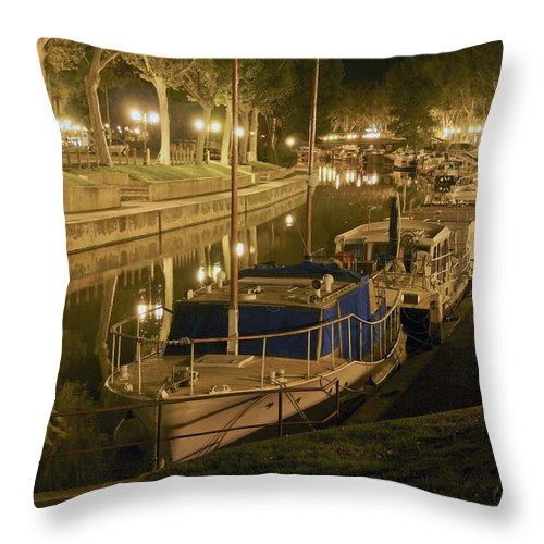 Narbonne Throw Pillow featuring the photograph Narbonne France Canal De La Robine At Night Dsc01657 by Greg Kluempers