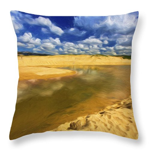 North Curl Curl Throw Pillow featuring the photograph North Curl Curl With Clouds by Sheila Smart Fine Art Photography