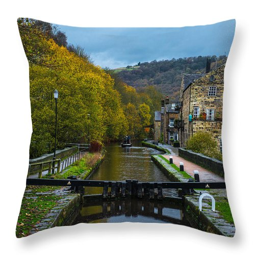Canal Throw Pillow featuring the photograph Narrow Boat Heading Up The Canal In The Fall by Dennis Dame
