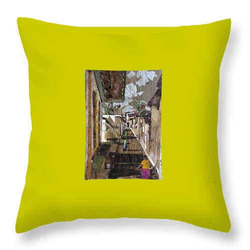 Street Scene Throw Pillow featuring the mixed media Narrow Street by Basant Soni