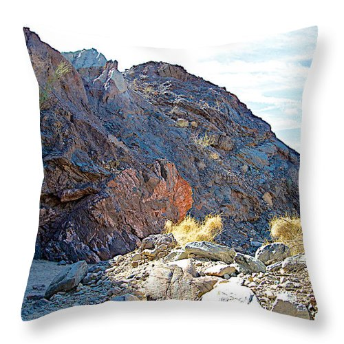 Narrowing Of Trail In Big Painted Canyon Trail In Mecca Hills Throw Pillow featuring the photograph Narrowing Of Trail In Big Painted Canyon Trail In Mecca Hills-ca by Ruth Hager
