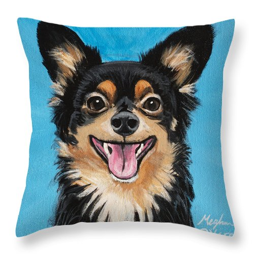 Dog Throw Pillow featuring the painting Nash by Meghan OHare