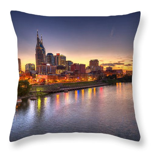 Pano Throw Pillow featuring the photograph Nashville Skyline Panorama by Brett Engle