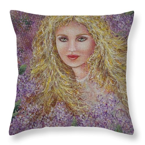 Portrait Throw Pillow featuring the painting Natalie In Lilacs by Natalie Holland
