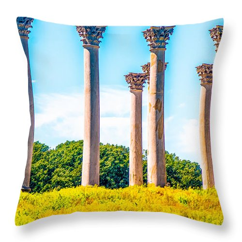 Arboretum Throw Pillow featuring the photograph National Capitol Columns by John Jack