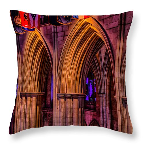 National Cathedral Throw Pillow featuring the photograph National Cathedral Arches by Izet Kapetanovic