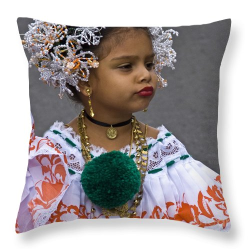 Throw Pillow featuring the photograph National Costume Of Panama by Heiko Koehrer-Wagner