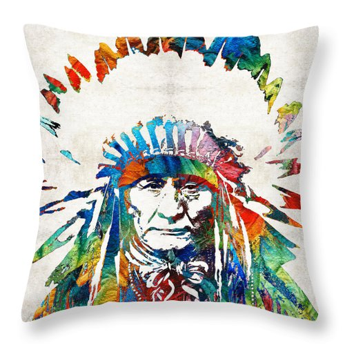 Native American Throw Pillow featuring the painting Native American Art - Chief - By Sharon Cummings by Sharon Cummings