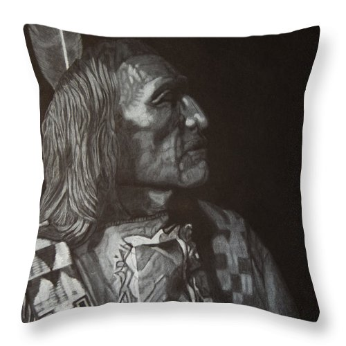 Native American Throw Pillow featuring the drawing Native American by Byron Moss