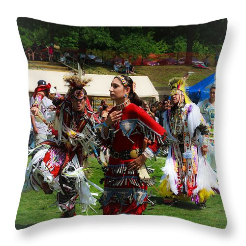 Native American Throw Pillow featuring the photograph Native American Dancers by Eleanor Abramson