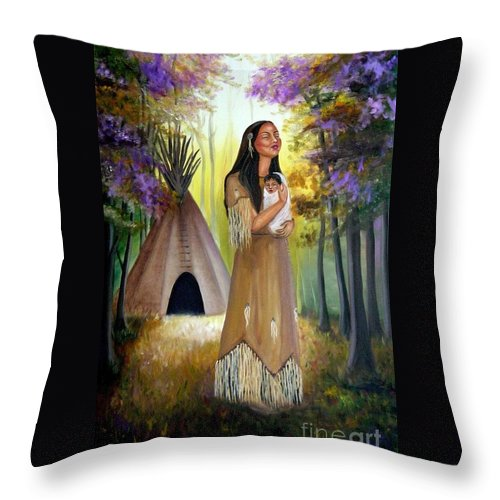 Native American Throw Pillow featuring the painting Native American Mother And Child by Lora Duguay