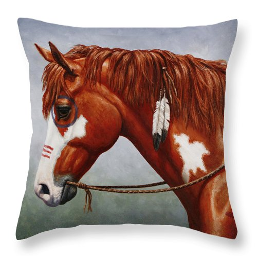 Horse Throw Pillow featuring the painting Native American War Horse by Crista Forest