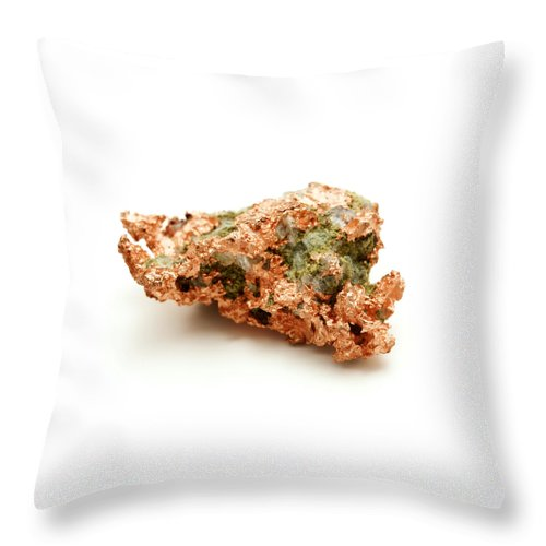 White Background Throw Pillow featuring the photograph Native Copper by Fabrizio Troiani