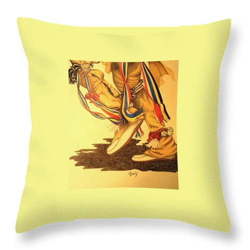 Dancer Throw Pillow featuring the drawing Native Dancer's Feet 1 by Lew Davis
