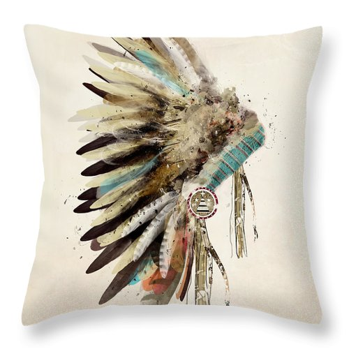 Native Headdress Throw Pillow featuring the painting Native Headdress by Bri Buckley