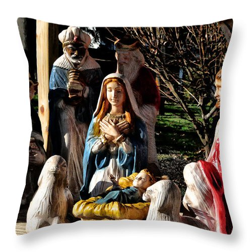 Nativity Throw Pillow featuring the photograph Nativity by Bill Cannon