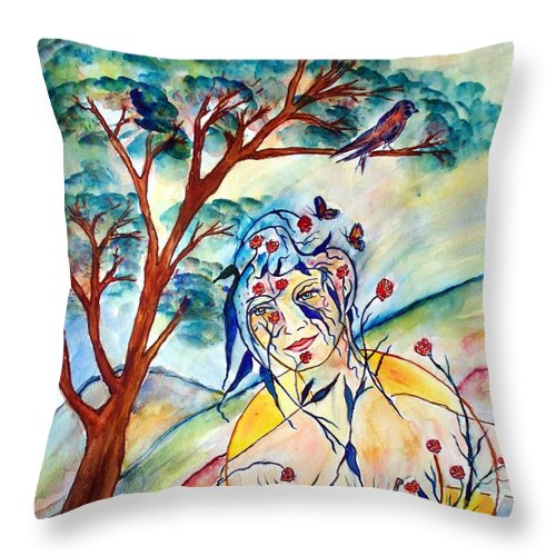 Female Throw Pillow featuring the painting Natura by Robin Monroe