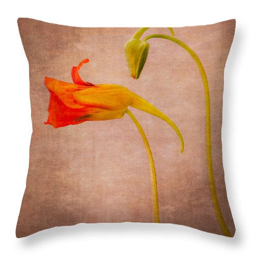 Nasturtium Throw Pillow featuring the photograph Natural Aliens by Ari Salmela
