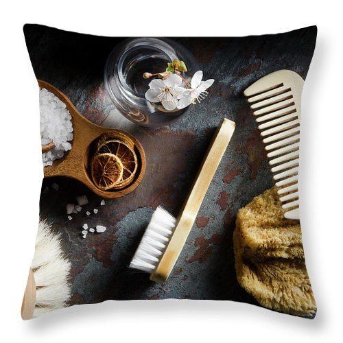 Comb Throw Pillow featuring the photograph Natural Bath Accesories On Gray by Nightanddayimages