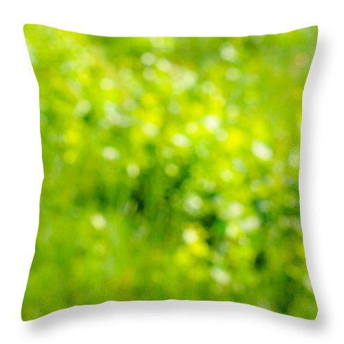 Abstract Throw Pillow featuring the photograph Natural Bokeh by Alain De Maximy