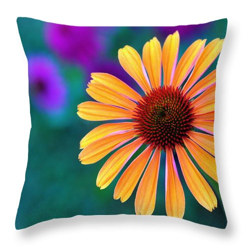 Flower Throw Pillow featuring the photograph Natural Fireworks by David Champigny