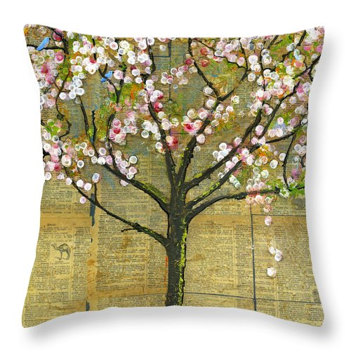 Artwork Throw Pillow featuring the painting Nature Art Landscape - Lexicon Tree by Blenda Studio