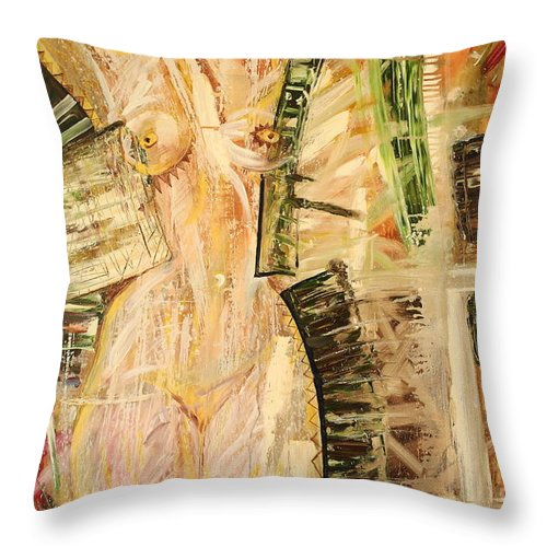 Света картины Throw Pillow featuring the painting Nature In Nude by SvetLana Grecova