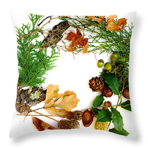 Christmas Card Throw Pillow featuring the photograph Nature's Natural Green Wreath by Suzanne Powers