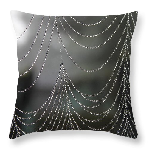 Web Throw Pillow featuring the photograph Nature's Pearls by Angie Vogel