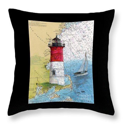 Nauset Throw Pillow featuring the painting Nauset Beach Lighthouse Ma Nautical Chart Map Art Cathy Peek by Cathy Peek