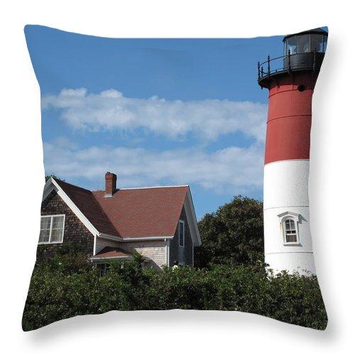 Nauset Throw Pillow featuring the photograph Nauset Light by Barbara McDevitt