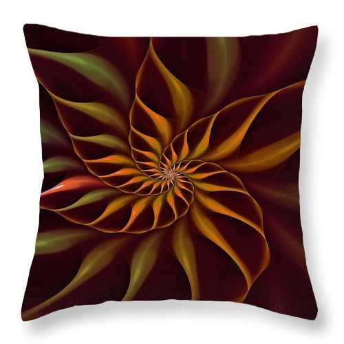 Flower Throw Pillow featuring the digital art Nautilus Fractalus Tropical by Doug Morgan