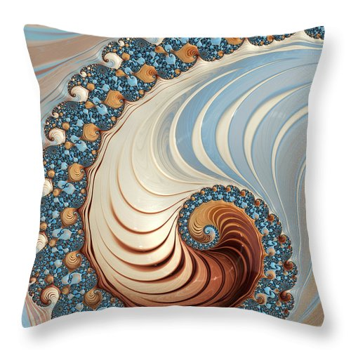 Fractal Throw Pillow featuring the digital art Nautilus by Heidi Smith