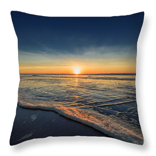 Sunset Photography Print Throw Pillow featuring the photograph Navy Sunset by Lucid Mood