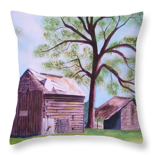 Barn Throw Pillow featuring the painting Nc Tobacco Barns by Jill Ciccone Pike