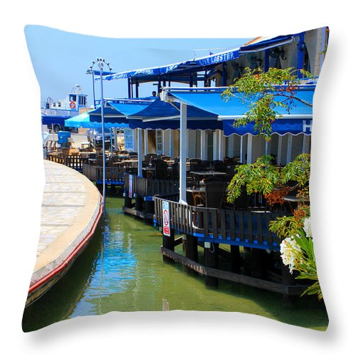 Augusta Stylianou Throw Pillow featuring the photograph Near The Harbour by Augusta Stylianou