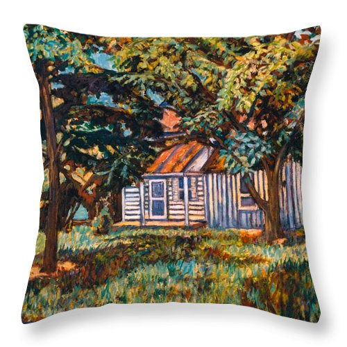 Architecture Throw Pillow featuring the painting Near The Tech Duck Pond by Kendall Kessler