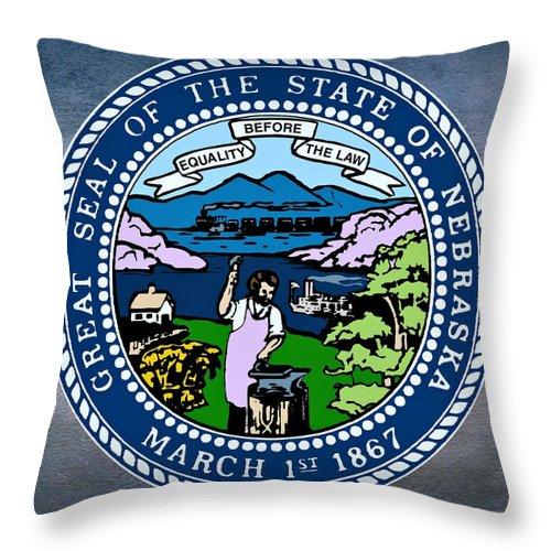 Nebraska Throw Pillow featuring the digital art Nebraska State Seal by Movie Poster Prints