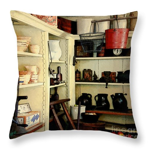 Antiques Throw Pillow featuring the painting Needful Things by RC DeWinter
