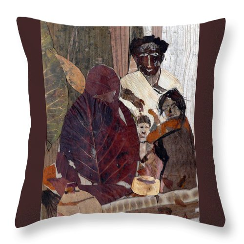 Group Portrait Throw Pillow featuring the mixed media Needy Family by Basant Soni