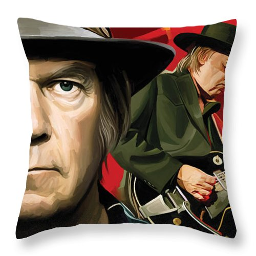 Neil Young Paintings Throw Pillow featuring the painting Neil Young Artwork by Sheraz A