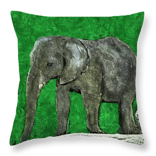 Elephant Throw Pillow featuring the digital art Nelly The Elephant by Pennie McCracken
