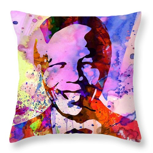 Throw Pillow featuring the painting Nelson Mandela Watercolor by Naxart Studio