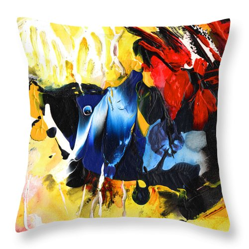 Acrylics Throw Pillow featuring the painting Nemo Finding Redbubble by Miki De Goodaboom