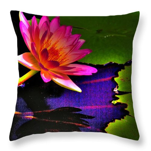 Flower Throw Pillow featuring the photograph Neon Lily by John Absher